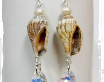Seashell and Swarovski Aurora Borealis Teardrop Earrings