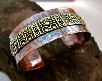 Tribal Hammered Copper and Brass Layered Bracelet