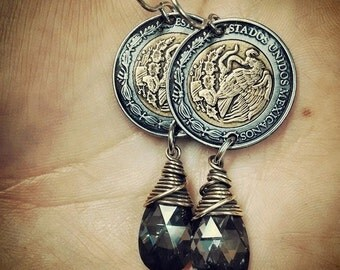 Mexican Peso and Swarovski Silver Night Crystal Earrings