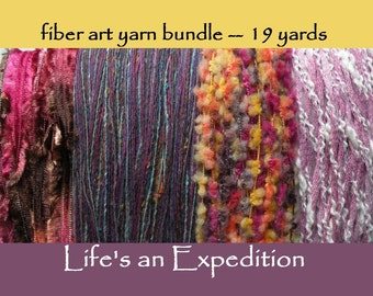 Fiber art yarn scrapbooking pack bundle samples embellishment pink cotton purple yellow wool orange brown 19 yards novelty trim ribbon i251