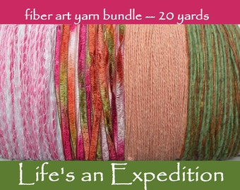 Cotton yarn bundle, lime green pink peach red, scrapbooking embellishment 20 yards fiber art assorted yarn paper crafts clearance sale i617