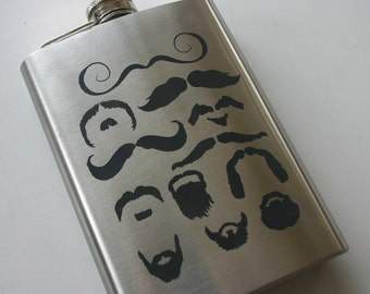 Moustache and Beard Set 8oz Laser Engraved Flasks Etched Stainless Steel