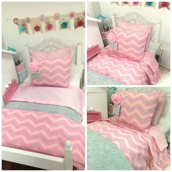 pink and gray chevron doll bedding set by ribbonwoodcottage. Black Bedroom Furniture Sets. Home Design Ideas
