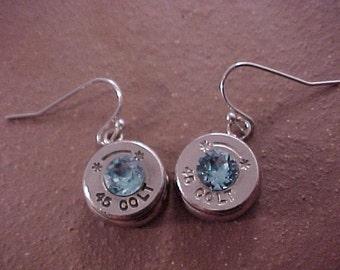 Bullet Earrings 45 Colt Brass Shell Aquamarine Swarovski Crystal - Free Shipping to USA