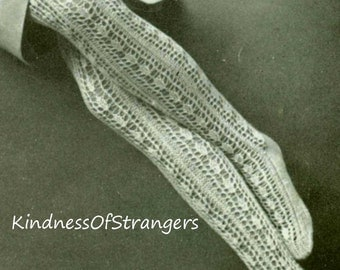 Vintage Two Needle Open Lacy Stocking Stockings Knitting Pattern 1964