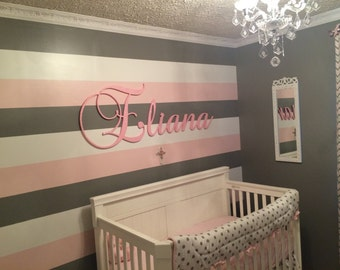 nursery name sign baby Name Plaque Large GLITTERED Personalized nursery name wall hanging nursery decor wooden wall art