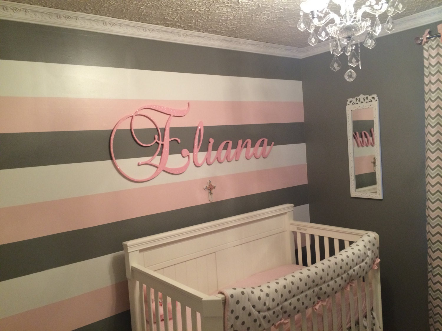Nursery Name Sign Baby Name Plaque Large Glittered