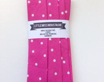 Pink Polka Print--Single Fold Bias Tape