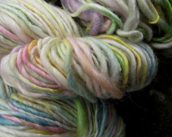 Handspun yarn, handpainted wool Merino wool and bamboo yarn, thick and thin, multiple skeins available-Buttermint