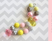 Chunky necklace { Lovey Dovey } pink, gray and yellow, Spring Easter Necklace, First Birthday, Cake Smash, Wedding photography prop