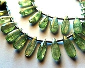 Green Kyanite Gemstone. Semi Precious Gemstone Bead. Faceted Pear Briolette, 9-16mm.Briolette. Sold Individually. Choose Your Size. (kky4))