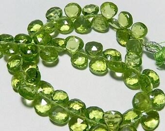 GREEN PERIDOT Gemstone,  Faceted, Heart  Briolette,  Briolette. 7.5mm  Semi Precious Gemstone. Your Choice. (5per1) SALE - 40% Off