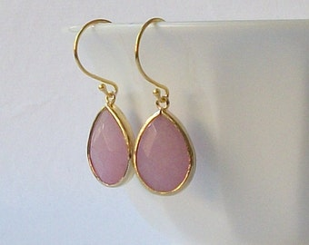 ON SALE Pink Crystal Drop Earrings