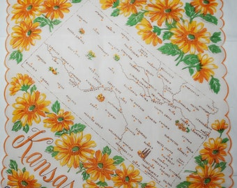 Vintage Kansas State Souvenir Handkerchief