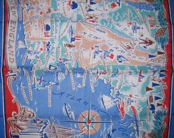 RESERVED for LAUREN Vintage 1960s New England Souvenir Handkerchief-Mint