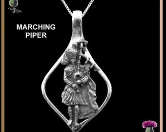 Marching Piper Oval Pendant - Sterling Silver