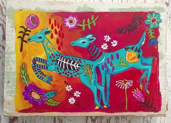 Woodland Deer Original Folk Art Home Decor