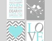 Aqua Gray Nursery Wall Art - You Are My Sunshine, Love, Baby Birds on Branch, Chevron Heart - Set of Four 11x14 Prints - CHOOSE YOUR COLORS
