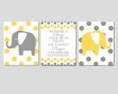 Read Me A Story - Elephant Nursery Art Trio - Set of Three 11x14 Prints - Polka Dot Elephant and Chevron Giraffe - Choose Your Colors