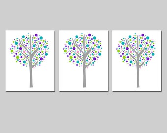 Tree Dot Trio - Set of Three 11x14 Prints - Modern Nursery Decor - Kids Wall Art - Nature, Cute, Whimsical - CHOOSE YOUR COLORS