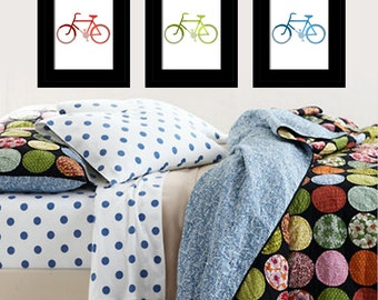 I Love Bikes - Set of Three 11x14 Bicycle Prints - CHOOSE YOUR COLORS - Nursery or Kids Wall Art