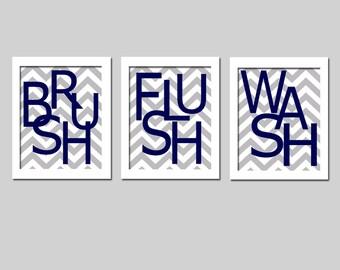 Kids Bathroom Wall Art Print Set of 3 Chevron Prints - Wash Brush Flush Splish Splash Scrub Soak Floss - Choose Your Wording and Colors