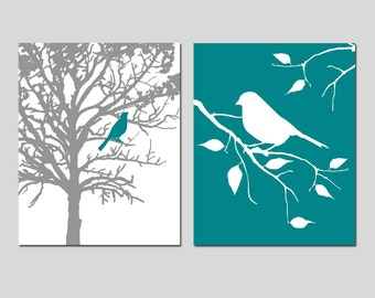 Birds and Trees - Bedroom, Bathroom, Nursery, Kitchen - Set of Two 8x10 Prints - CHOOSE YOUR COLORS - Shown in Gray, Olive Green and More