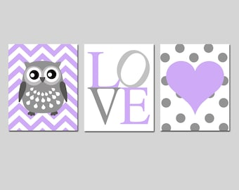 Chevron Owl Love Heart Trio - Set of Three 8x10 Nursery Art Prints - CHOOSE YOUR COLORS - Shown in Purple Faint Lilac, Gray and More