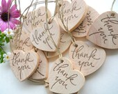 15 Thank You Wooden Heart Tags - 1 3/4 inches for Weddings, Graduations, Parties, Engagements