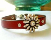 Leather Sunflower Bracelet Turquoise Dangle Bangle Rivets Silver Brown