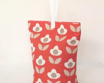 Red Floral Tulip Fabric Door Stop Doorstopper