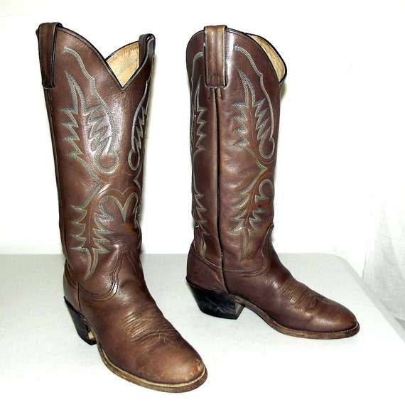 taupe brown and blue western cowboy boots by