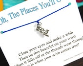 The Places You'll Go - Train Charm - Wish Bracelet - Shown In ROYAL BLUE - Over 100 Different Colors Are Also Available