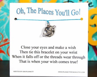 The Places You'll Go - Earth With Plane Charm - Wish Bracelet - Shown In DECEMBER SKY - Over 100 Different Colors Are Also Available