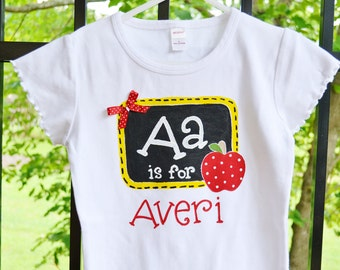 personalized shirt, back to school tee, first day of school outfit, 1st day of school tee, back to school w chalkboard and apple and bow