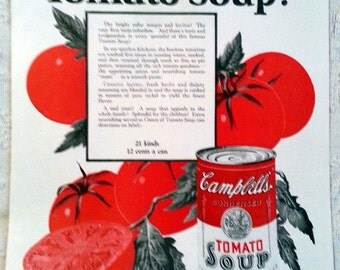 1926 Campbell's Tomato Soup Ad Bright and Beautiful Vintage Ad