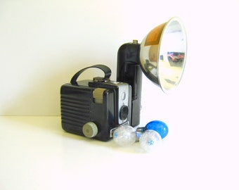 Vintage Kodak Brownie Hawkeye Camera with Flash Attachment
