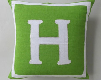 lime green and white monogrammed pillow covers 18 inch - Custom made - choose your colors