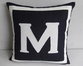 Mid night navy monogrammed pillows -14 inch  custom made