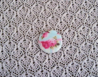 Gorgeous Pink Roses Over Robins Egg Blue Cabochon Floral Cabochon Rose Cameo 27mm Cabochon Jewelry Design Supplies....