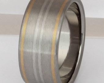 Gold Platinum and Titanium Wedding Band - Striped Precious Metal Ring - Horizon - m2