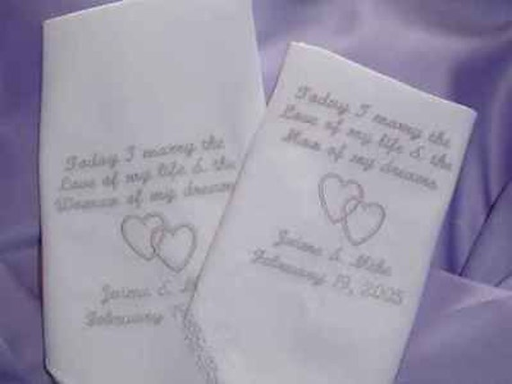 Bride and Groom personalized customized handkerchief set Perfect gift for wedding day double hearts