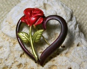 Red Rose Brooch, Rose Brooch, Red Flower Pin, Recycled Brooch, Jewelry for Sale, Vintage Brooch, Gift Ideas, Popular Jewelry, Heart Pin