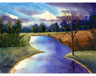Watercolor landscape painting ORIGINAL watercolour of a Lake and Tree at Sunset  water reflections 10x14