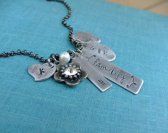 Family Custom Hand Stamped Mommy Necklace with { fam.i.ly } Initials Freshwater Pearl and Rhinestone Centered Daisy Bloom by MyBella
