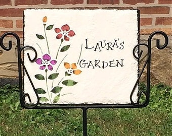 Personalized handpainted slate and holder,  wild iris