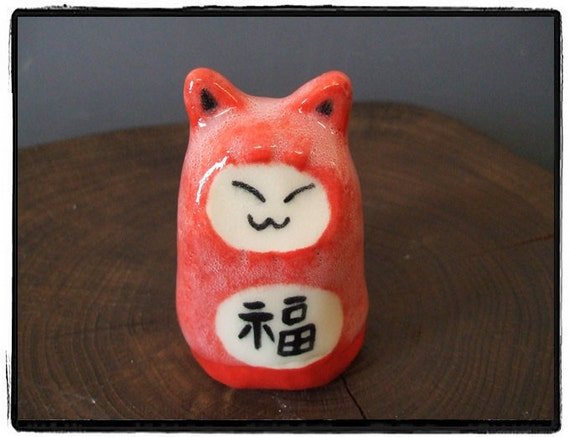One Little Red Cat Figure for Your Good Luck by misunrie