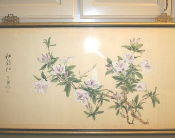 Vintage CHINESE Silk Screen Serigraph Print PLUM BLOSSOMS Signed