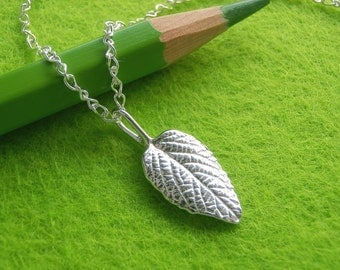 Lantana Leaf Jewelry - Pure Silver Real Leaf Pendant, Sterling Silver Chain Necklace, Botanical Jewelry