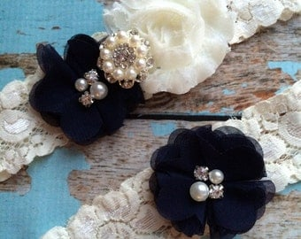 NAVY flower  / IVORY  chiffon / wedding garter set / bridal  garter/  lace garter / toss garter included /  wedding garter